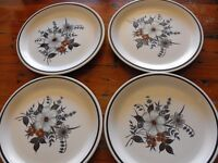 "TOWN AND COUNTRY 'BLUE RIDGE STONEWARE 10.75 "" DINNER PLATES X 4"