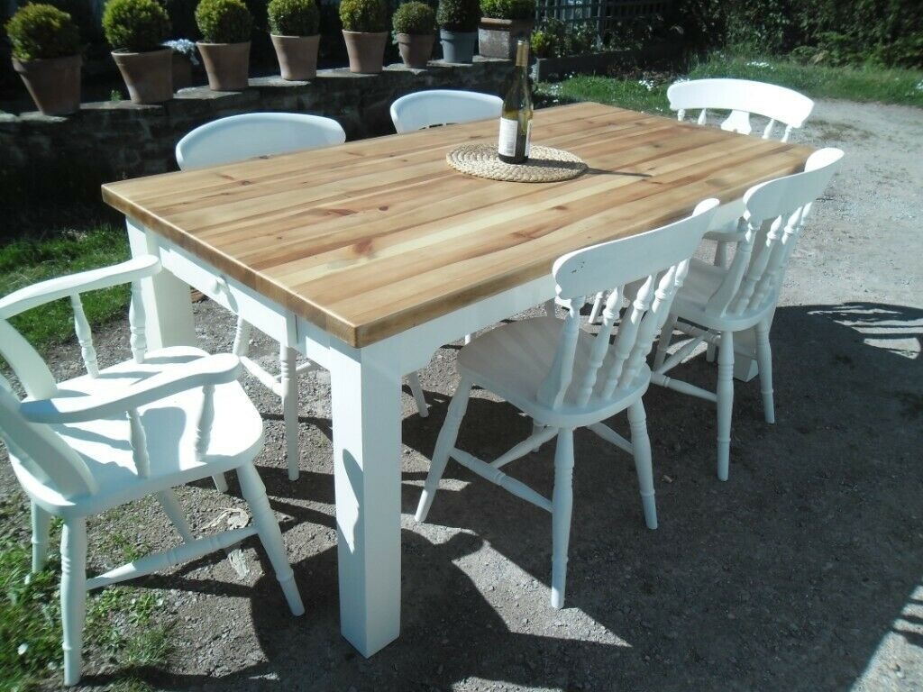 Farmhouse dining / kitchen table refurbished to high ...