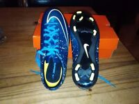 Child, Nike Merc Victory FG Jnr 54 , blue and black,Football boots , size 5 brand new.