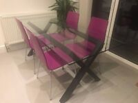 Habitat 'Dublin' 6 seater wood and glass dining table + x7 multi-coloured retro dining chairs