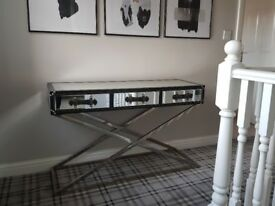 Unique Industrial Mirror & Leather 3 Drawer Console Table in Stainless Steel Frame