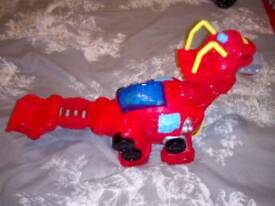 Playskool transformer Dino with fireman figure