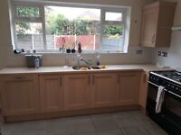 Wood Effect Kitchen Cupboards, Work surfaces, Sink and Extractor Fan