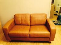 Excellent condition tan leather 2 seater sofa