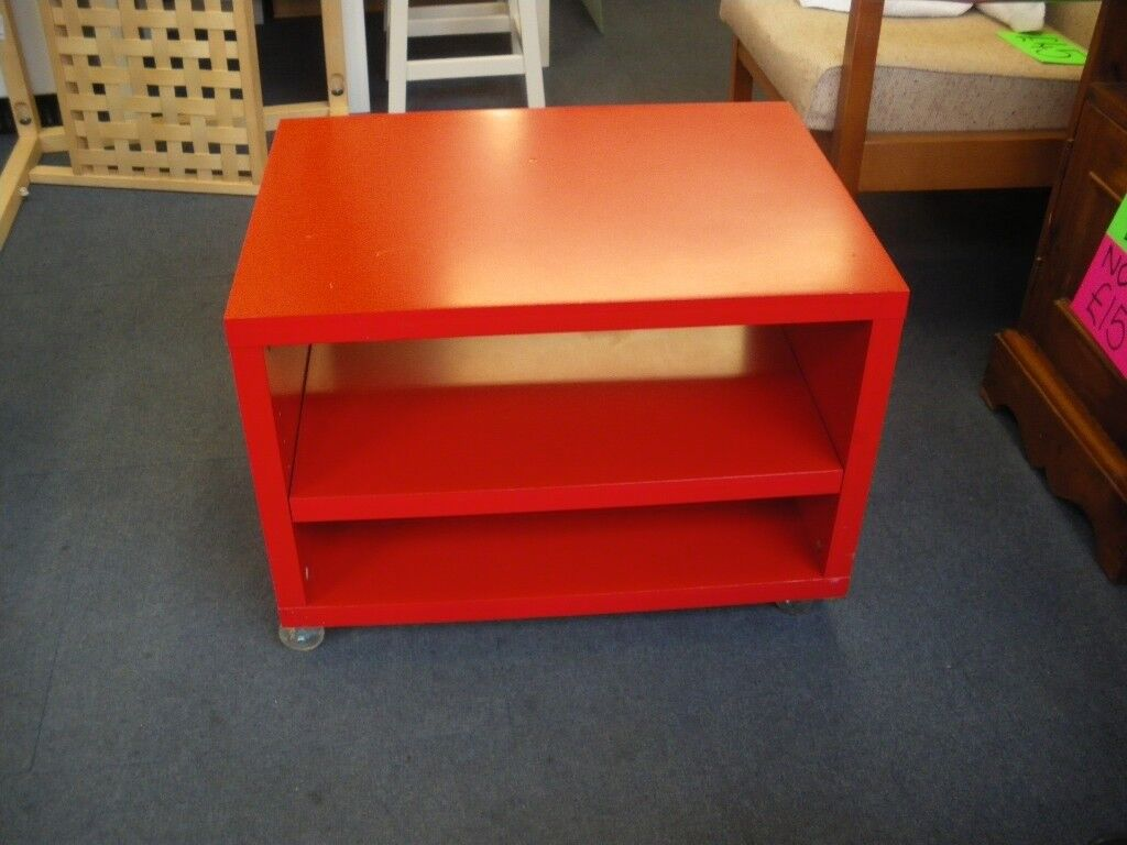 Ikea Red Coffee Table On Wheels