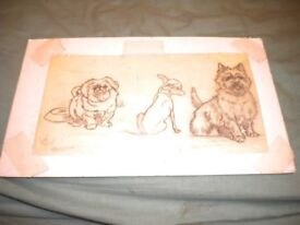 A CECIL ALDIN PENCIL DRAWING OF 3 DOGS 12X7 INCHES