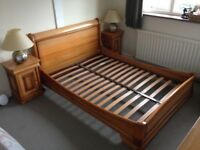 Fantastic sleigh double bed, bedside cabinets and chest of drawers