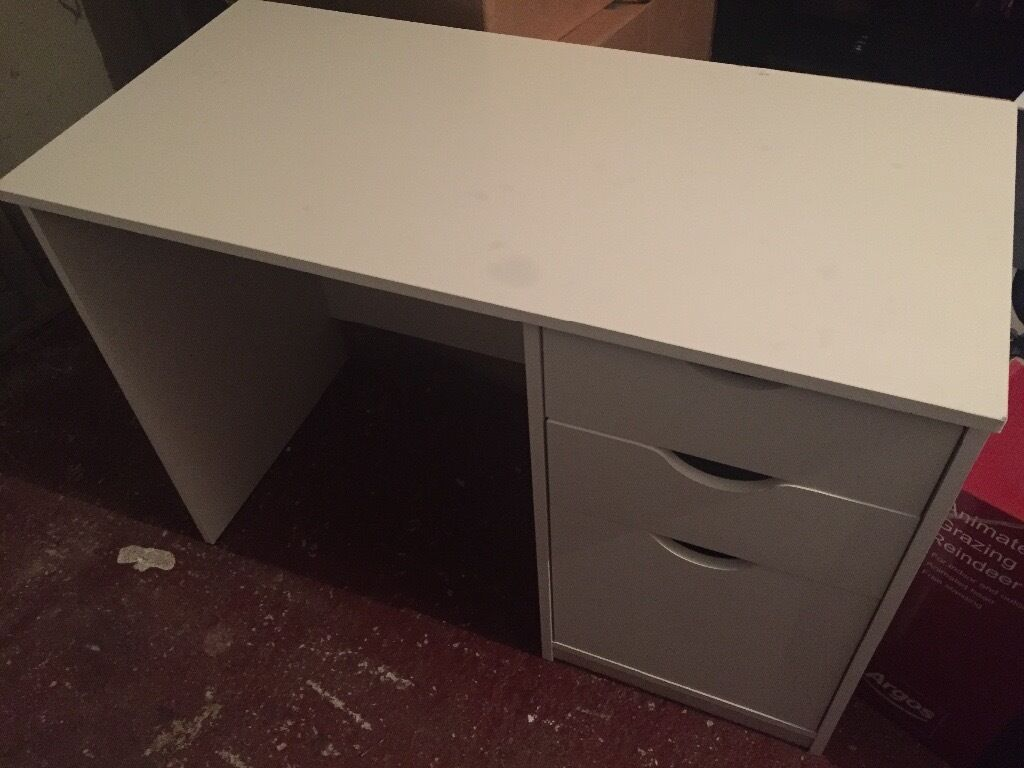 White desk table office 3 drawer from Argos
