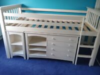 Cabin Bed with Furniture - Good Quality and Good Condition - White - Julian Bowen