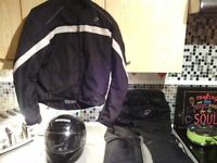 Motorbike jacket trousers and helmet £20 cash