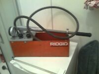 Ridgid water test pump, (hand), ideal for plumbing + fire protection systems, available for pick up
