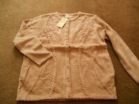 Womens Cardigan Jumper Buttoned Rich Thick Wool M/L Brand New Luxury Beige Cream