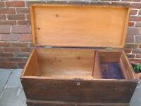 OLD PINE CHEST / COFFEE TABLE. Delivery poss. Also : PEWS, CHURCH CHAIRS, OLD DESKS & PINE CUPBOARD