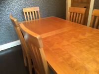 Solid Birch Kitchen Table & 6 Chairs - Extendable - Not oak