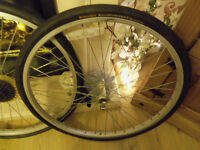 x2 mountain bike wheels with continental sport contact tyres(like new) +7 gear cog+quick release.£18