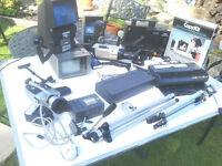 Collection of : Video camera, film viewers, tripods, JVC Projector ,Mic's & bits - £95 the lot