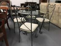 ** GLASS DINING TABLE & CHAIRS **