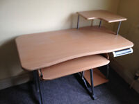 Wood effect desk with metal frame ideal for computer/design work - Didsbury area