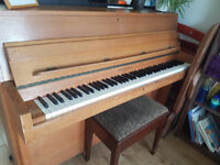 Upright piano for FREE, woodframe, plays well