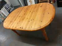 Pine rounded extending dining table