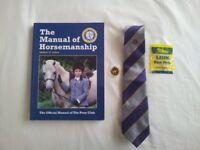 pony club: manual,tie, sweatshirt,badge and hairnet