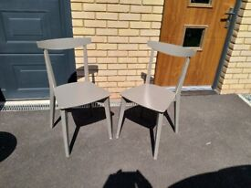 Pair of wooden dining chairs (light grey colour) - £10 each