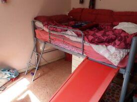 Mid sleeper / bunk bed with slide - metal frame.