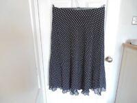 Brand New M&S Long Black Polka Dot Skirt