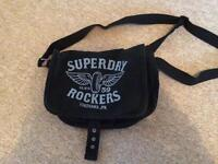 Small Superdry black canvas shoulder bag messenger style