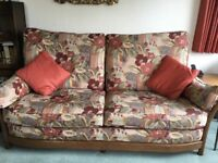 Ercol patterned three seater settee and arm chair in excellent condition.
