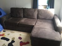 Brown suede effect double sofa bed ex-John Lewis