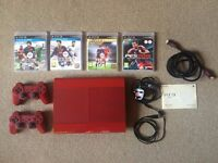 Play Station 3 PS3 Red Console Super Slim 500GB, 2 controllers, HDMI cable and games FIFA 16