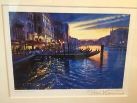 Signed Framed picture - Venice 'Dancing Lights Rialto' Stan Kaminski