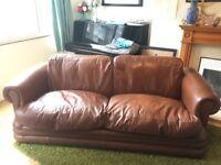 Vintage tan leather sofa - 4 seater