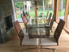 Venjakob designer leather ,wood and steel dining chairs