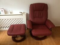 Leather Look Red Napoli Heat and Massage Chair and Footstool