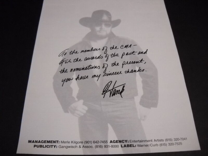 HANK WILLIAMS JR. Thank You CMA For All The Awards original PROMO POSTER AD