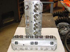 Chevy 350 383 400 Aluminum Cylinder Heads straight plug 327 283 Pro Header 327