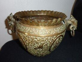 vintage brass planter