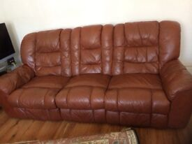 Real leather 3 seaters reclining sofa for £50