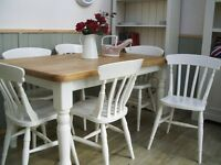 Stunning Pine Country Farmhouse 5ft Table and 6 Chair Set.