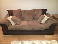 Pair of DFS brown sofas leather and fabric mix