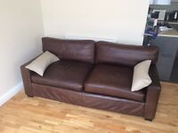 Italian brown leather sofa