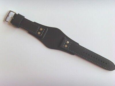 FOSSIL Original Ersatz Lederarmband CH2564 Uhrband schwarz mit Unterlage 22 mm (Fossil Schwarz Leder Uhr)