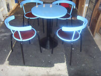 RETRO ROUND DINING TABLE AND 4 MATCHING CHAIRS BLUE/BLACK REFURBISHED. CAN DELIVER.