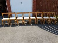 8 IKEA Solid Wood & Cream Leather Chairs FREE DELIVERY 762