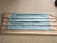 ROMAN BLIND, FAUX SILK, DUCK EGG BLUE WITH BEIGE TRIM- 130cm wide, 230cm long