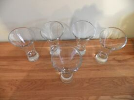 5 Tall Contemporary Glass Dessert / Pudding / Ice Cream / Sundae Dishes