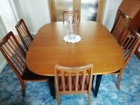Collectable Retro G-Plan Long Extendable Dining Table and Six Chairs