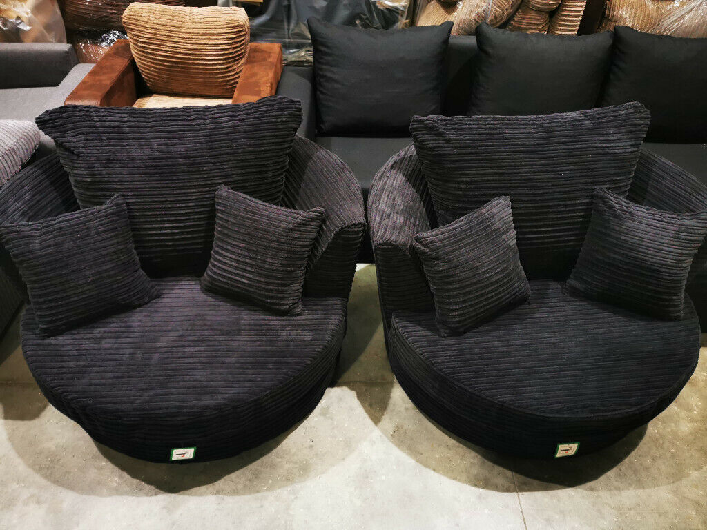 Jumbo Cord Swivel Chair In Black Two Available In